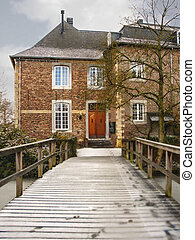 Winter in Holland. Old house during a snowfall