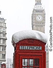 Winter in London. Snow on the street.