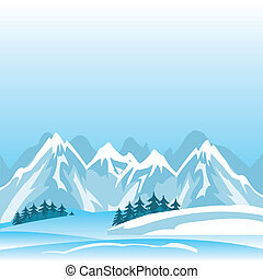 Winter in mountain - Illustration of the high mountains in...