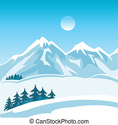 Winter in mountain - Illustration of the mountain landscape ...
