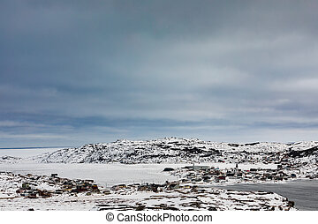 Winter in outport fishing village Fogo NL Canada