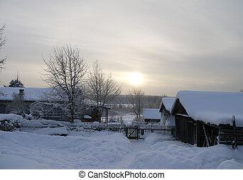 Winter in Russian village
