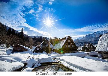 Winter in Shirakawa-go Japan. Traditional style huts