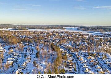 Winter in Smedjebacken drone photo
