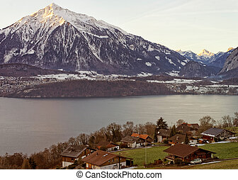 Winter in Swiss Alps near the Thun lake
