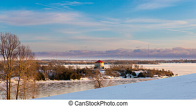 Winter in the 1000 Islands - Snow and ice blanket a Martello...