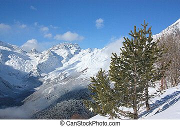 Winter in the mountains on a sunny day