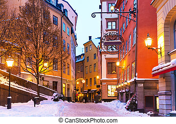 Winter in the Old Town in Stockholm, Sweden - Evening winter...