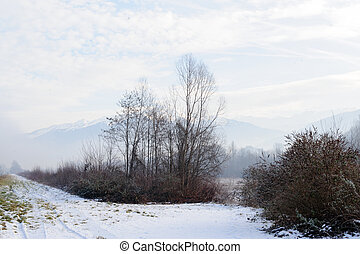 A snowy landscape in the French alps, along the road between France and Italy.