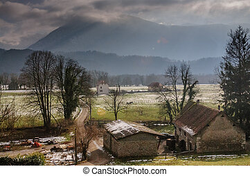 Winter in the Savoy Area in Southern France.