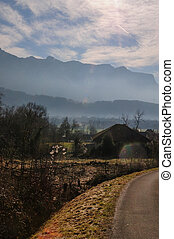 Landscape shot of the Savoy Area, Near Entre-deux-Guiers, in Souther France, on a clear Winter Afternoon
