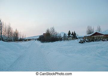 winter in town of Akureyri in Iceland