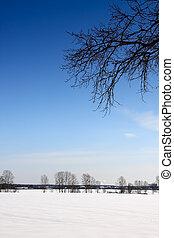Winter in village.