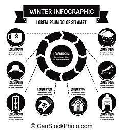 Winter infographic concept, simple style