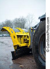 winter., inverno, plow-frame, serviços, pronto, close-up., estrada