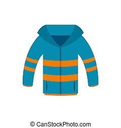 Winter jacket icon, flat style - Winter jacket icon. Flat...