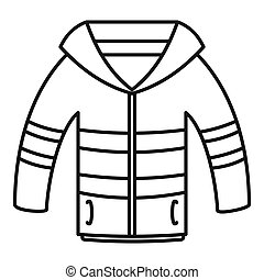 Winter jacket icon, outline style - Winter jacket icon....