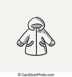Winter jacket sketch icon. - Winter jacket sketch icon for...