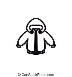 Winter jacket sketch icon. - Winter jacket vector sketch...
