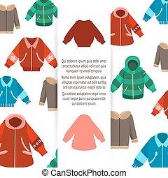Winter jackets poster design on white backgroud, vector...