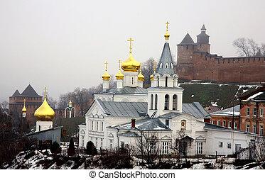 Winter january view of Church Elijah the Prophet and Kremlin Nizhny Novgorod Russia