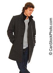 winter jas, jonge, nadenkend, verticaal, man