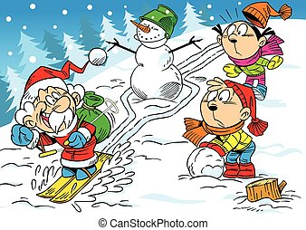 winter joke - The illustration shows how the children have...