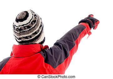 winter, jonge, wijzende, kaukasisch, mooi, kleren