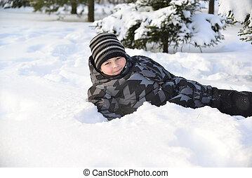 winter, jongen, sneeuw, tiener, bos, ligt