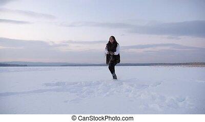 Winter Joyful Girl Playing Snowballs