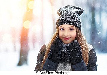 winter, junge frau, portrait., schoenheit, freudig, modell,...