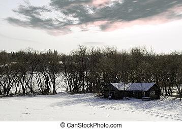 winter, kabine