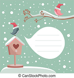 winter, karte, mit, ort, für, dein, text