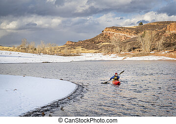 winter kayaking in northern Colorado