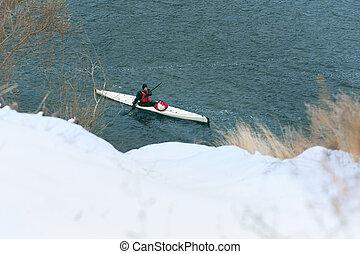 winter kayaking on the river in Ukraine 22