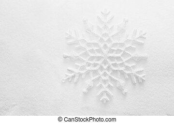 winter, kerstmis, achtergrond., sneeuwvlok, op, sneeuw