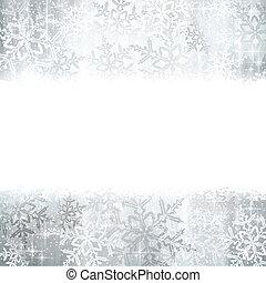 winter, kerstmis, snowflakes, achtergrond, zilver