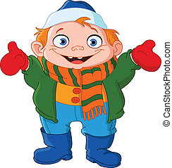 Winter kid - Cute kid in winter