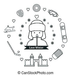 Winter kids activities line icon set. Flat style design
