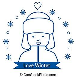 Winter kids activities line icon set. Flat illustration