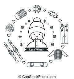 Winter kids activities line icon set.