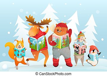 Winter Kids Animals Reading Books in Snow Forest