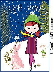 Winter kids girl with rabbit