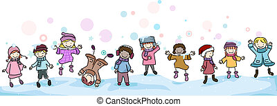 Winter Kids - Illustration of Kids Playing in the Snow