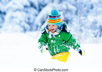 winter., kinder, schnee, kind, outdoors., spielende