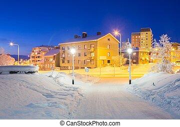 Kiruna Cityscape - Winter Kiruna Cityscape at dusk