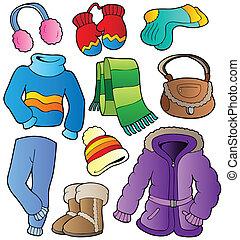 winter, kleding, verzameling, 1