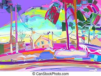 winter, kleurrijke, digitale , landelijk, schilderij, origineel, landscape
