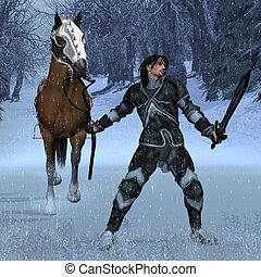 Winter Knight - Armoured knight leading his horse through a...