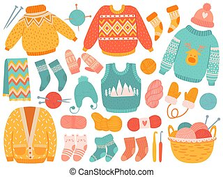 Winter knit clothes. Handmade wool clothing and knitting tools, sweaters, socks, hats and mitten, scarf, needles and yarn vector set